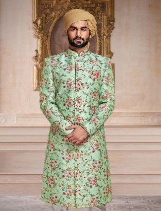 Green terry rayon indo western for mens