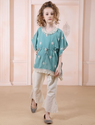 Green thread work cotton silk pant suit