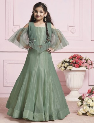 Green tissue silk fabric gown