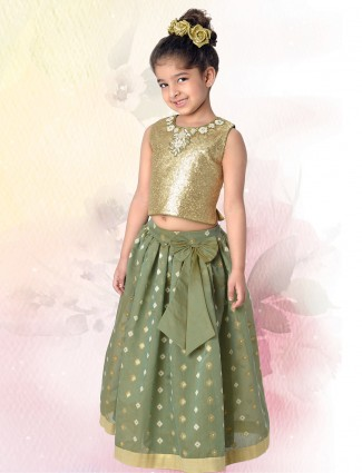 Green tissue silk lehenga choli wedding wear