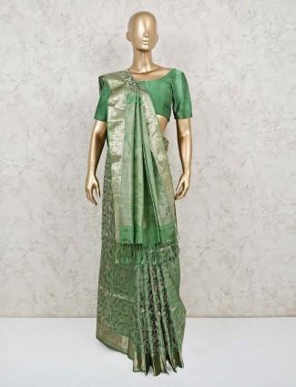 Green wedding days pure banarasi silk saree