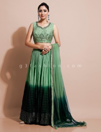 Green wedding lehenag choli in georgette