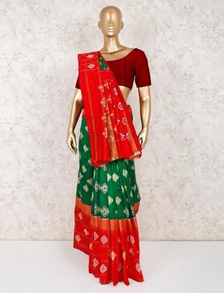 Green wedding wear hydrabadi patola silk saree