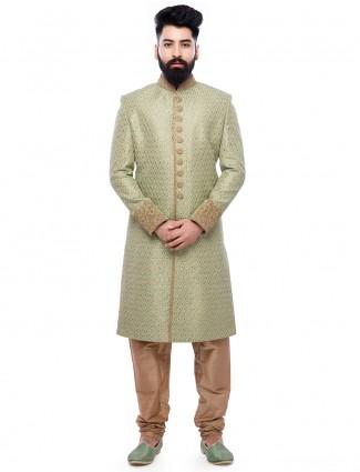 Green wedding wear silk sherwani