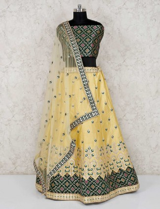 Green yellow banarasi silk semi stitched lehenga choli