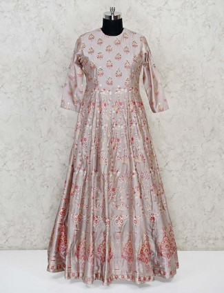 Grey anarkali dress in silk with floral print