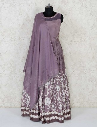 Grey anarkali salwar kameez in cotton silk for festivals