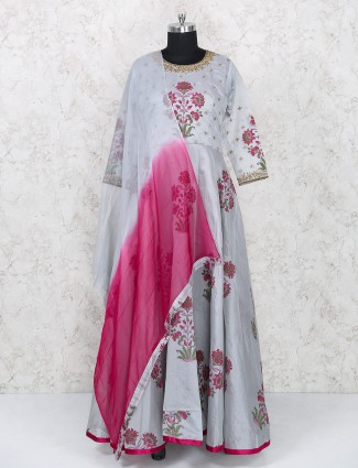 Grey anarkali suit for woman