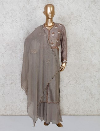Grey anarkali with palazzo in raw silk