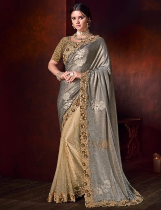 Grey and beige half and half shimmer saree