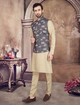 Grey and beige printed cotton waistcoat set for mens