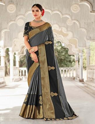 Grey and black semi silk saree