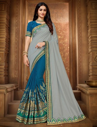 Grey and blue festive half and half embroidered saree