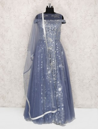 Grey and blue floor length anarkali suit