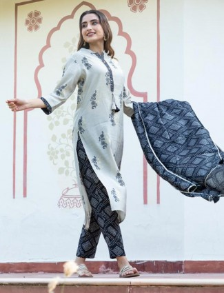 Grey and blue printed straight Kurti set in cotton