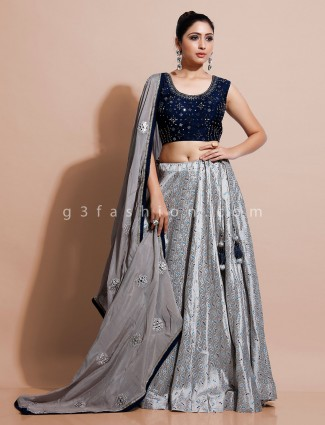 Grey and blue silk party wear lehenga choli