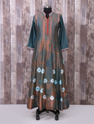Grey and brown color silk fabric long suit