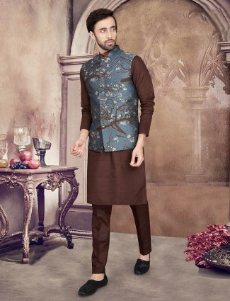 Grey and brown thread and woven cotton silk waistcoat set