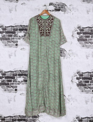 Grey and green color cotton fabric kurti