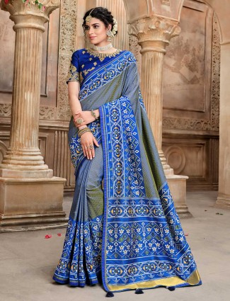 Grey and green dhupchhav pure patola silk saree for wedding
