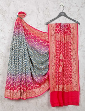 Grey and magenta bandhej style saree
