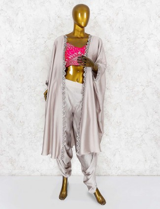 Grey and magenta hue satin dhoti suit