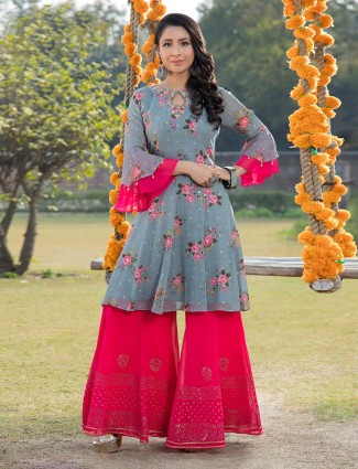 Grey and magenta punjabi palazzo salwar suit in georgette