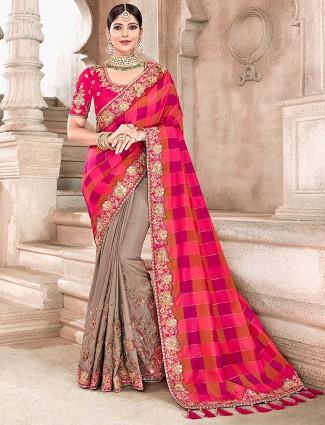 Grey and magenta semi silk half and half saree