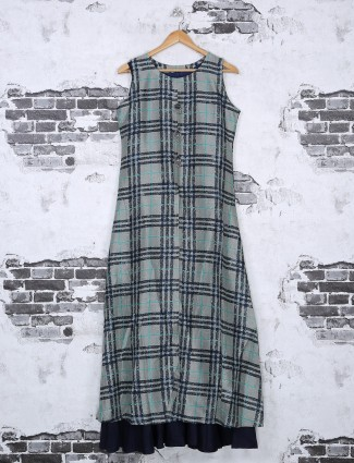 Grey and navy printed cotton kurti