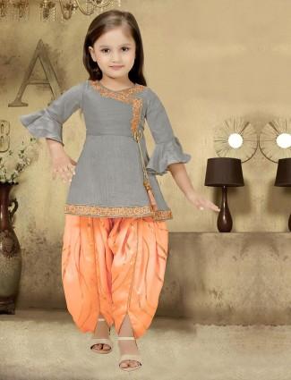 Grey and orange designer dhoti suit