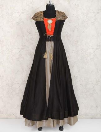 Grey and orange hue jacket style lehenga choli in raw silk