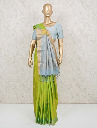 Grey and parrot green pure silk saree for wedding