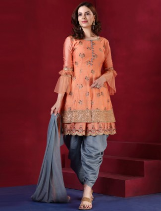 Grey and peach silk punjabi salwar suit