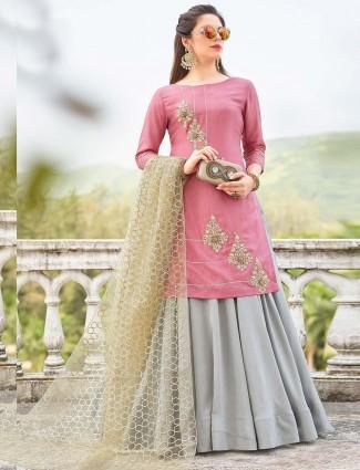 Grey and pink color cotton silk festive lehenga cum salwar suit