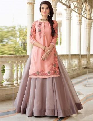Grey and pink cotton silk lehenga cum salwar suit