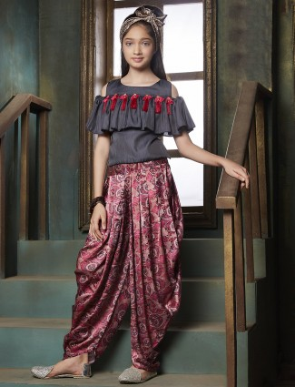 Grey and pink silk dhoti suit