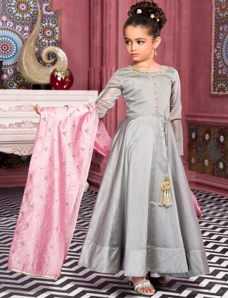 Grey and pink silk festive girls anarkali suit