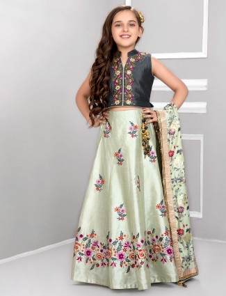 Grey and pista green cotton silk lehenga choli
