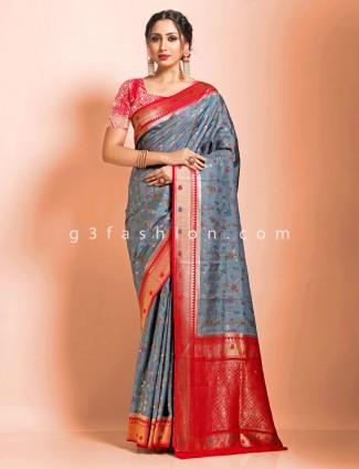 Grey and red contrast pallu supar fine dola silk traditional saree