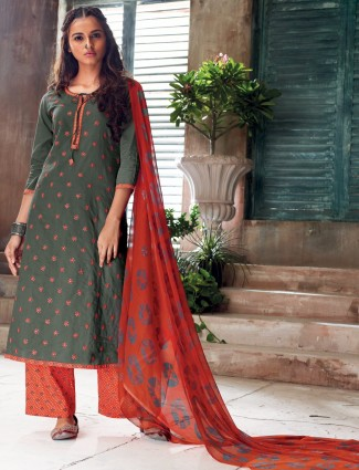 Grey and red cotton salwar suit