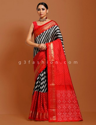 Hydrabadi black and red leheriya ikkat patola sari