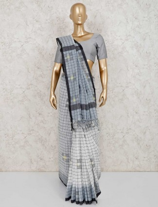 Grey and white linen saree with unstiched blouse piece