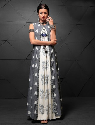 Grey and white long kurti