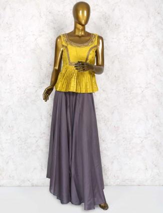Grey and yellow raw silk lehenga cum salwar suit
