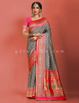 Grey art banarasi silk floral thread zari weaving pallu saree