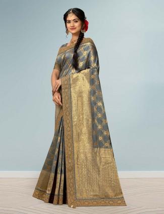 Grey banarasi silk beautiful saree