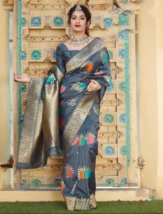 Grey banarasi silk saree for evening party