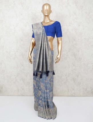 Grey banarasi silk saree for festive