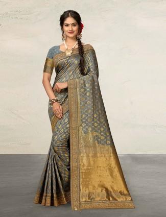 Grey banarasi silk saree for wedding