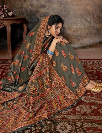 Grey banarasi silk saree for wedding days